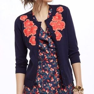 Tabitha Firebloom Navy Floral Embroidered Cardigan